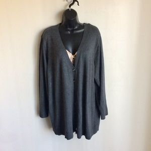 Faded Glory Gray Cardigan Sweater Size 3X